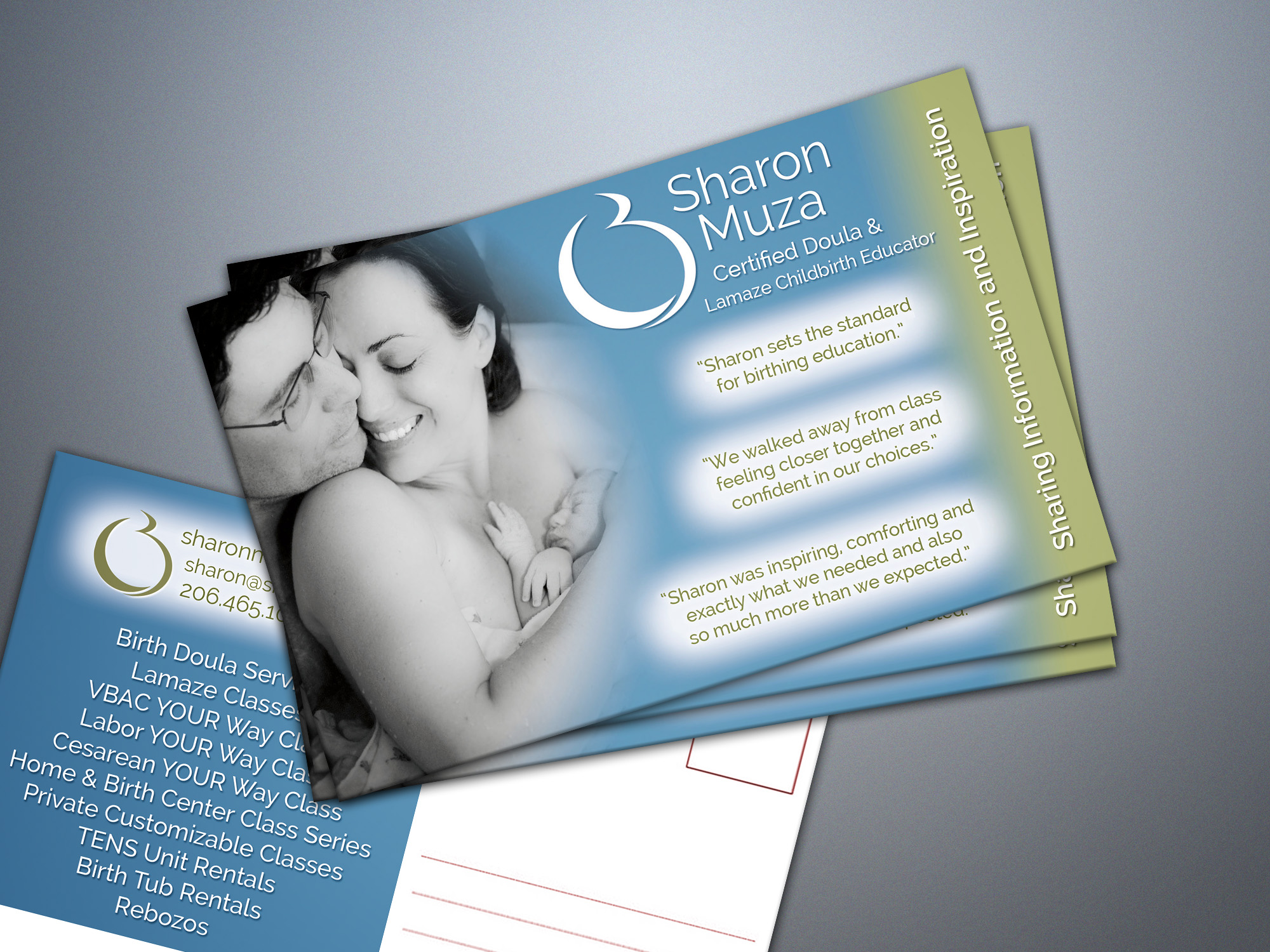 childbirth educator postcard design