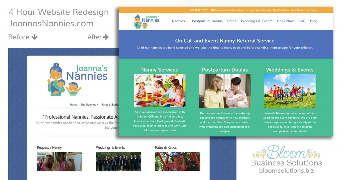 nanny agency website design