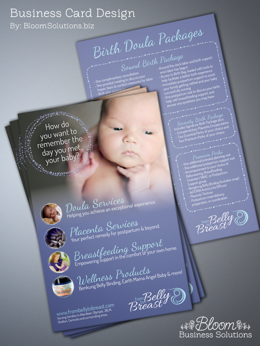 birth doula postcard design