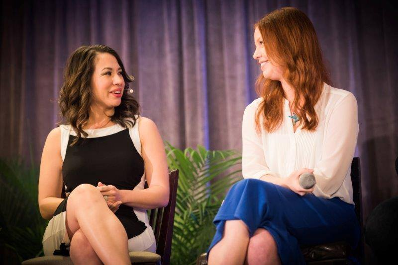 Speaking on the stage at Marisa Murgatroyd's Message to Money event in LA.